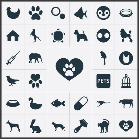 シンプルな野生のアイコンのベクトル イラスト セット。要素医学、子犬、子豚、他の同義語の犬小屋、ピグレットとペンギン。