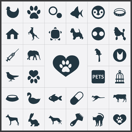 Vector Illustration Set Of Simple Wild Icons. Elements Medicine, Puppy, Piglet And Other Synonyms Doghouse, Piglet And Penguin.