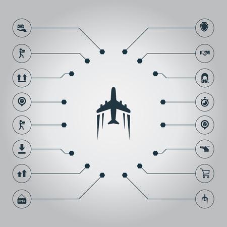 Vectorillustratiereeks Eenvoudige Techniekpictogrammen. Elementen Kruiwagen, Autoverzekering, Bovenzijde en Andere synoniemen, Speld en verzending.