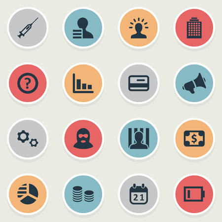 Vector Illustration Set Of Simple Trouble Icons. Elements Skyscarper, Charge, Bankroll And Other Synonyms Gears, Megaphone And Dollar.