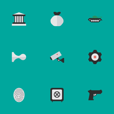 Vector Illustration Set Of Simple Offense Icons. Elements Weapon, Vault, Supervision And Other Synonyms Save, Hunting And Jail.