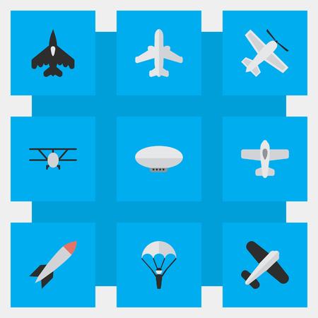 Vektor-Illustrations-Satz einfache Flugzeug-Ikonen. Elemente Flugzeug, Handwerk, Luftfahrt und andere Synonyme Luftschiff, Fliegen und Bombe Standard-Bild - 82822022