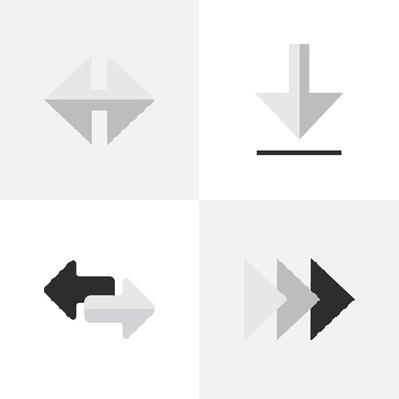 Vector Illustration Set Of Simple Cursor Icons. Elements Import, Onward, Indicator And Other Synonyms Forward, Import And Download. Ilustrace