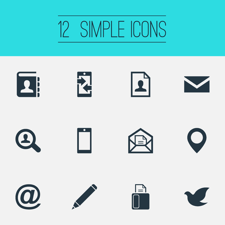 Vector Illustration Set Of Simple Communication Icons. Elements Open Envelope, E-Mail Symbol, Resume And Other Synonyms Pin, Location And Directory.