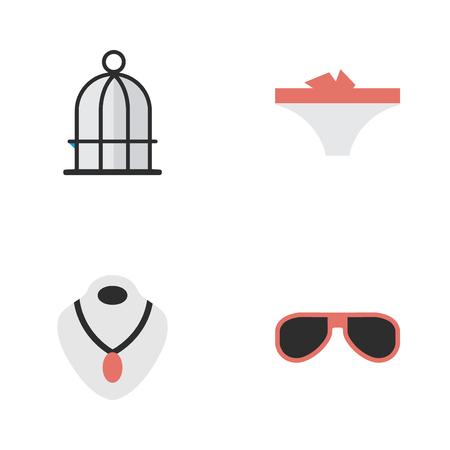 벡터 일러스트 레이 션 간단한 장비 아이콘의 집합입니다. 요소 란제리, 선글라스, 보석 및 기타 동의어 보석, 케이지 및 감옥.