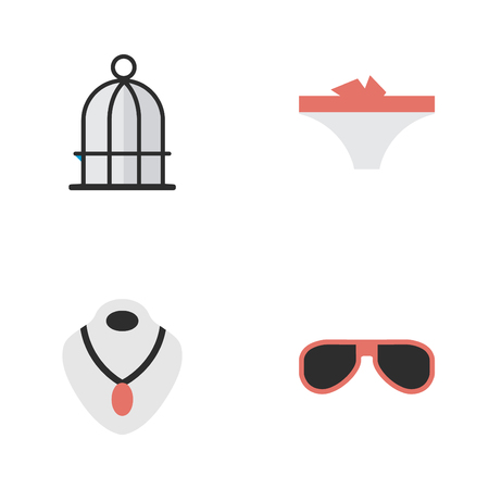 Vector Illustration Set Of Simple Equipment Icons. Elements Lingerie, Sunglasses, Jewelry And Other Synonyms Jewelry, Cage And Prison. Иллюстрация