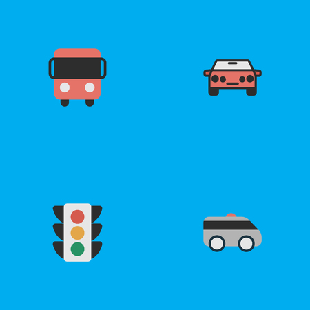 Vector Illustration Set Of Simple Transportation Icons. Elements Auto, Armored, Autobus And Other Synonyms Bus, Lights And Lighter. Иллюстрация