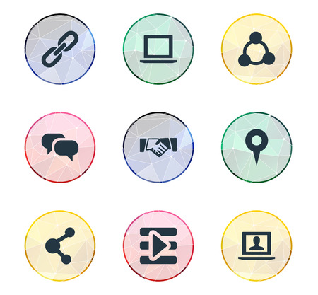Vector Illustration Set Of Simple Media Icons. Elements Publish, Media Control, Agreement And Other Synonyms Inbox, Publish And Laptop.