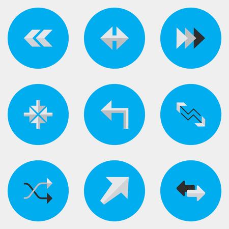 単純なポインター アイコンのベクター イラスト セット。要素、カオス、矢印と他の同義語の輸出入、先および南西。