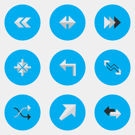 Vector Illustration Set Of Simple Pointer Icons. Elements Import, Chaotically, Arrow And Other Synonyms Export, Ahead And Southwest.