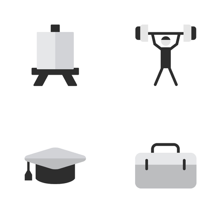 Vector Illustration Set Of Simple Education Icons. Elements Briefcase, Academic Hat, Easel And Other Synonyms Painting, Bodybuilding And Easel. Illustration