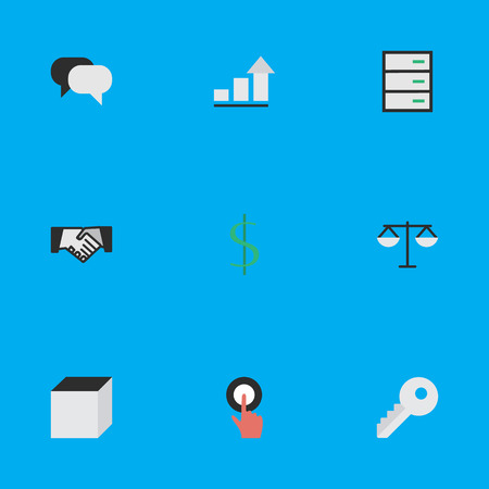 Vector Illustration Set Of Simple Business Icons. Elements Drawer, Talking, Growing And Other Synonyms Money, Growing And Handshake. Ilustração