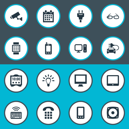 Vector Illustration Set Of Simple Web Icons. Elements Touchpad, Telephone, Keypad And Other Synonyms Bulb, Car And Loudspeaker. Illustration