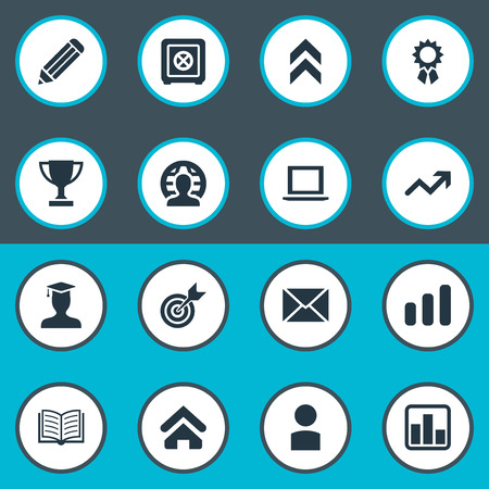 Vector Illustration Set Of Simple Entrepreneurship Icons. Elements Specialist, Global Business, Strongbox And Other Synonyms Trophy, Diagram And Award.