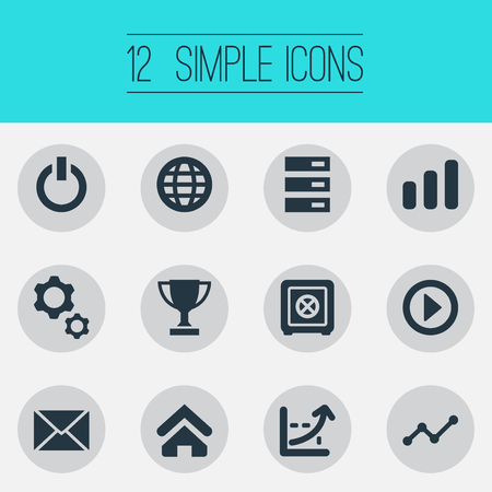 Vector Illustration Set Of Simple Entrepreneurship Icons. Elements Switch Off, Database, House And Other Synonyms House, Strongbox And Champion. Иллюстрация