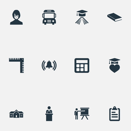 Vector Illustration Set Of Simple School Icons. Elements Geometry, Tribune, Hat And Other Synonyms Bookshop, Tutor And Man. Illustration
