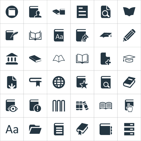 Vector Illustration Set Of Simple Books Icons. Elements Template, History, Love Affair And Other Synonyms File, Stack And Hat. Illustration