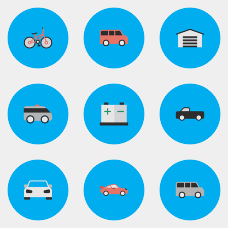 Vector Illustration Set Of Simple Shipping Icons. Elements Family, Armored, Truck And Other Synonyms Bike, Artillery And Battery.