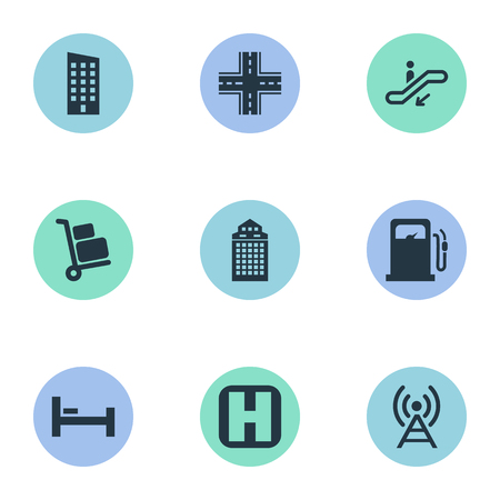 シンプルなシティ アイコンのベクター イラスト セット。要素空港カート、高層ビル、エスカレーターおよび他類義語ビル、交差点・ ホーム。  イラスト・ベクター素材