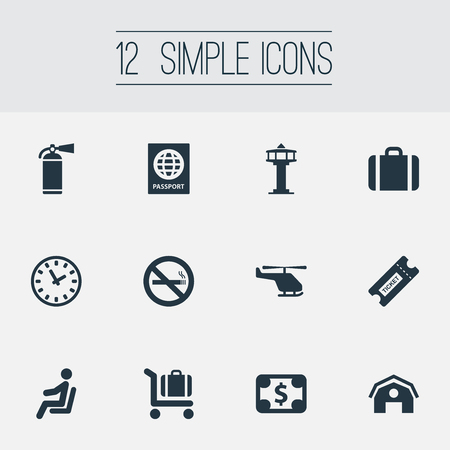 Vector Illustration Set Of Simple Travel Icons. Elements Garage, Coupon, Baggage Cart And Other Synonyms Copter, Watch And Suitcase.