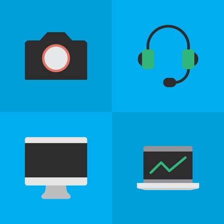 Vector Illustration Set Of Simple Instrument Icons. Elements Microphone, Photo Apparatus, Notebook And Other Synonyms Camera, Microphone And Display. Illustration