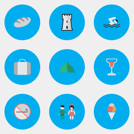 Vector Illustration Set Of Simple Travel Icons. Elements Smoke Forbidden Pair Bakery And  sc 1 st  123RF Stock Photos & Vector Illustration Set Of Simple Relax Icons. Elements Camping ...