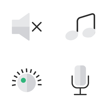 Vector Illustration Set Of Simple  Icons. Elements Volume, Music Sign, Regulator And Other Synonyms Record, Music And Microphone.