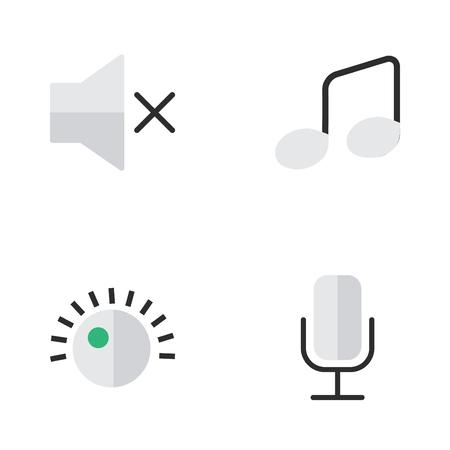 Vektor-Illustration Satz einfache Symbole. Elemente Volume, Musik Zeichen, Regler und andere Synonyme Record, Musik und Mikrofon. Standard-Bild - 82926072