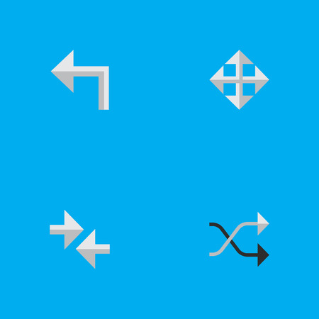 Vector Illustration Set Of Simple Pointer Icons. Elements Orientation, Chaotically, Widen And Other Synonyms Resize, Arrow And Widen.