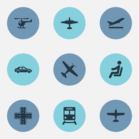 벡터 일러스트 레이 션 간단한 교통 아이콘의 집합입니다. 요소 항공기, 택시, 여객기 및 다른 동의어 비행기, 자동차 및 고속도로.