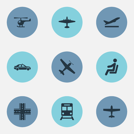 Vector Illustration Set Of Simple Transportation Icons. Elements Aero, Cab, Airliner And Other Synonyms Plane, Car And Highway.