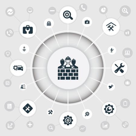 벡터 일러스트 레이 션 간단한 아이콘의 집합입니다. 요소 워크숍, 건설, 작성기 팀 및 기타 동의어 기어, 팀 및 스크루 드라이버입니다.