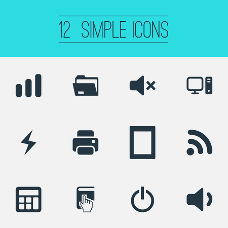 Vector Illustration Set Of Simple Computer Icons. Elements Battery, Select, Quiet Sound And Other Synonyms Computer, Palmtop And Compute. Illustration