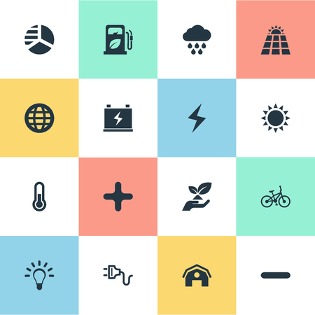 Vector Illustration Set Of Simple Power Icons. Elements Cross, Barn, Cloudburst And Other Synonyms Delete, Station And Globe. Иллюстрация