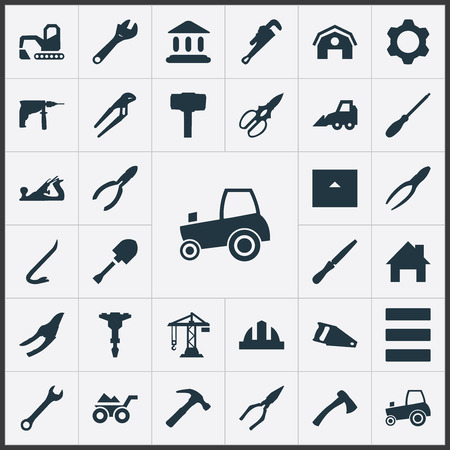 drill: Vector Illustration Set Of Simple Architecture Icons. Elements Wrench, Hammer, Clippers And Other Synonyms Adjustable, Bulldozer And Hacksaw.