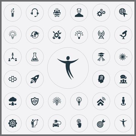Illustrazione vettoriale Set di icone creative semplici. Elements Shield, Click, Renovation e altri sinonimi Ristrutturazione, connessione ed elaborazione. Archivio Fotografico - 82926217
