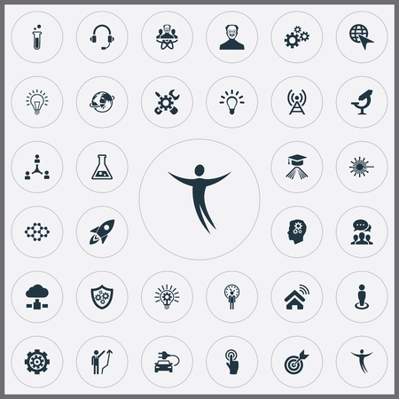 Vector Illustration Set Of Simple Creative Icons. Elements Shield, Click, Renovation And Other Synonyms Renovation, Connection And Processing.