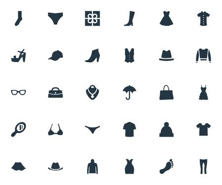 Elementen schoeisel, vest, bril en andere synoniemen Parasol, vrouw en zendspoel. Vector illustratie Set van eenvoudige kleding pictogrammen. Stock Illustratie