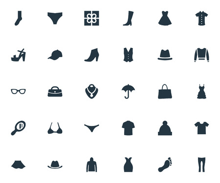 Léments de chaussures, cardigan, lunettes et autres synonymes Parasol, femme et casque. Vector Illustration Set d'icônes de vêtements simples. Banque d'images - 82895448