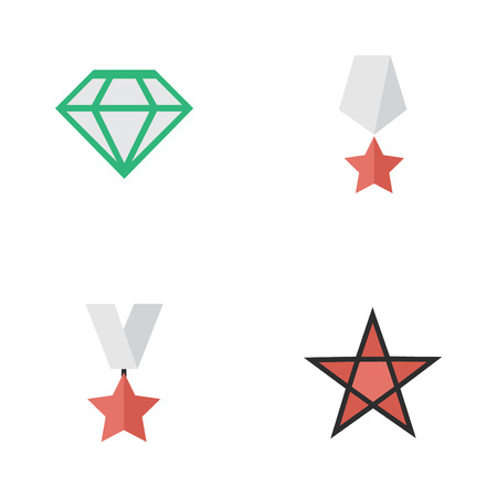 Elements First, Gemstone, Premium And Other Synonyms Precious, Star And Medal.  Vector Illustration Set Of Simple Champ Icons.