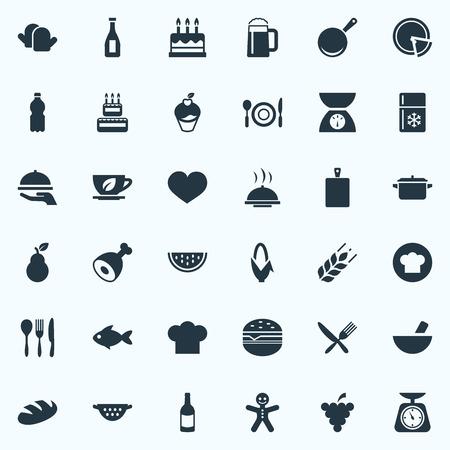 Elements Sandwich, Cookware, Organic Fruits Synoniemen Eten, vlees en muffin. Vector illustratie Set van eenvoudige koken iconen.