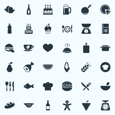 Elements Sandwich, Cookware, Organic Fruits Synonyms Food, Meat And Muffin.  Vector Illustration Set Of Simple Cooking Icons.