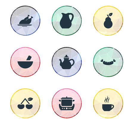 Elements Grilled Poultry, Infuser, Jug And Other Synonyms Barbecue, Pear And Ponder.  Vector Illustration Set Of Simple Cuisine Icons. Illustration