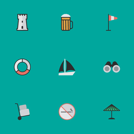 Elements Tower, Optical Zoom, Flag And Other Synonyms Lifebuoy, Zoom And Beach.  Vector Illustration Set Of Simple Holiday Icons. Illustration