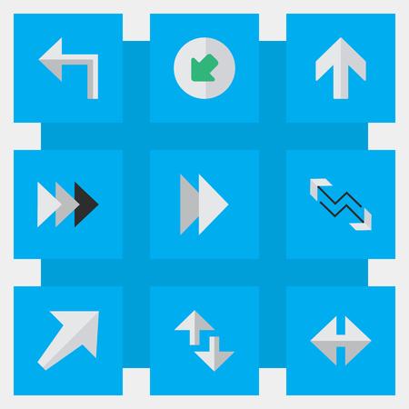 전방, 남서, 오리엔테이션 및 기타 동의어 인터넷, 전방 및 전방 요소. 벡터 일러스트 레이 션 간단한 커서 아이콘의 집합입니다.
