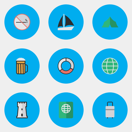 Elements Certificate, World, Schooner And Other Synonyms Lifebuoy, Forbidden And Journey.  Vector Illustration Set Of Simple Holiday Icons.