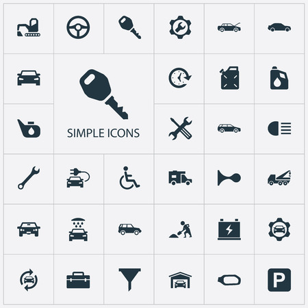 Vector Illustration Set Of Simple Car Icons. Elements Repair, Vehicle Building, Road Sign And Other Synonyms Parking, Side And Hatchback. Illusztráció