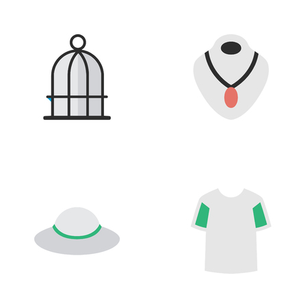 Vector Illustration Set Of Simple Equipment Icons. Elements Birdcage, Jersey, Jewelry And Other Synonyms Prison, Shirt And Birdcage. Ilustração