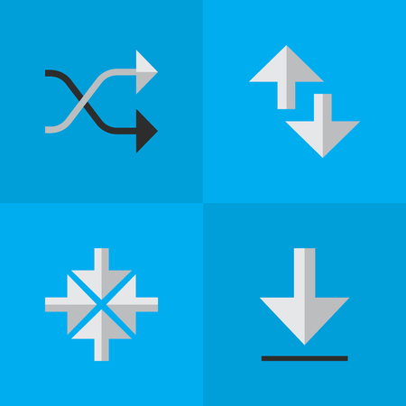Vector Illustration Set Of Simple Pointer Icons. Elements Cursor, Chaotically, Loading And Other Synonyms Inwardly, Arrow And Download. Illusztráció