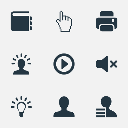 Vector Illustration Set Of Simple Web Icons. Elements Creativity, Pointer, Profile And Other Synonyms Innovation, Analyst And Silence.